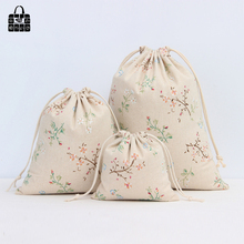 Flower branches cotton linen fabric dust cloth bag Clothes socks/underwear shoes receive bag home Sundry kids toy storage bags(China)