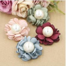 new 2017 30ps latest Burned Satin Flower Handmade flower Hair Flowers with pearl center for Boutique Hair Accessories