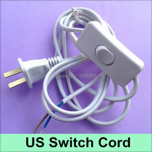 20 Pcs/lot Switch Cable On-off Cord For LED Lamp DIY Switch US Plug Light Switching Wire Cord 1.8M Extension Black White Cable(China)