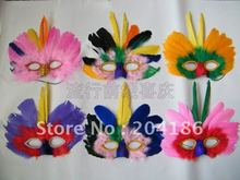 Free shipping! Columbus day Halloween carnival parade mask,dance party mask,Feather mask,15 colors,50pcs