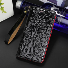 i7 7 Plus folio camellia phone Leather case For iPhone 7 6 6S Plus Top quality brand lady flip phone bag wallet style cover case(China)