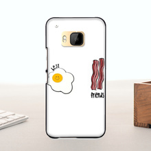 High Quality Multi Colors phone case For HTC One m9 case  Fried Eggs Ham bacon best friends