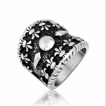 Retro Unique Flower Pattern Titanium Masculine Wide Men's Vintage Ring Fashion Stainless Steel Men Jewelry Statement Rings