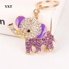 Purple Elephant Lovely New Crystal Pendant Charm Purse Bag Car Key Ring Chain Nice&Substantial Gift Original Handmade(China)