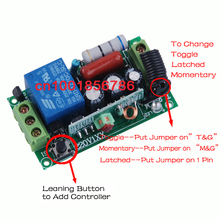 Free Shipping 220V 1CH(channel) 10A Wireless Remote Switch main board Wireless Receiver Learning code 315Mhz/433Mhz optional