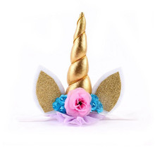 Gold Glitter Unicorn Horn Headband Happy Birthday Party Decoration Fancy Flower Unicorn Birthday Party Hats Kids Favors(China)