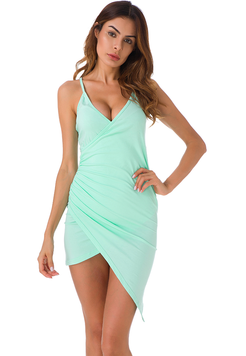 Forefair Sexy Ruched Cross V- Neck Strap Dress 2017 Summer Light Green Cotton Dress Women Backless Bodycon Party Dresses 2