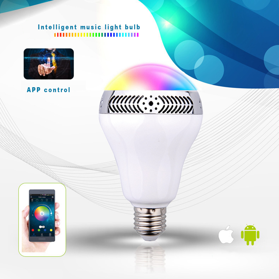 bluetooth bulb with speaker lights music play dimmable intelligent E27 app control led smart led bulb lamp prefect for party <br>