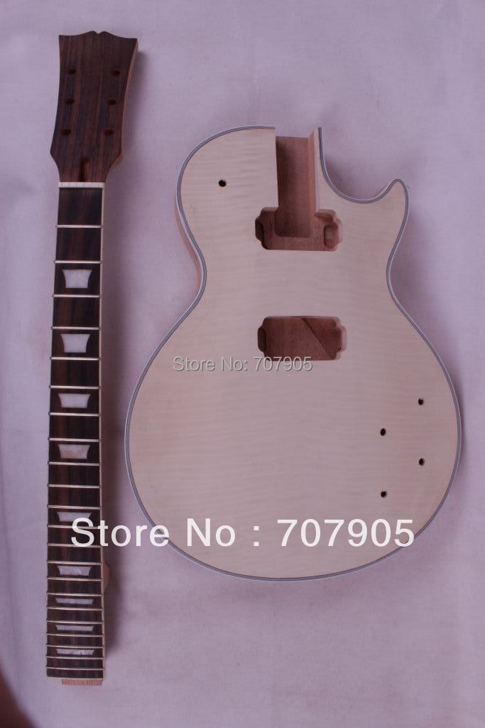 High Quality New 1set Unfinished electric guitar neck set in&amp;Body Mahogany Flame Maple Veneer<br><br>Aliexpress