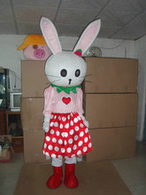 Hot sale new design Real Pictures Deluxe Pink Rabbit mascot costume! free shipping !
