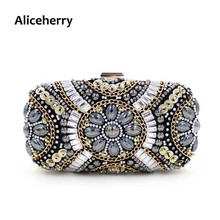 Aliceherry Luxury Designer Manual Diamond Crystal Clutch Evening Bags Vintage Day Clutches Women Wedding Purse Bags Ladies Gift