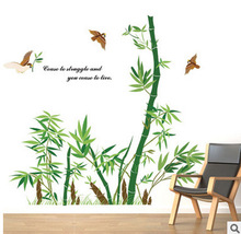 Listed on the new wall stickers stickers study Chinese rural bamboo sofa setting wall decoration