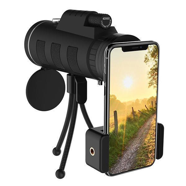 Lens for phone 40X60 Zoom for Smartphone Monocular Telescope Scope Camera Camping Hiking Fishing with Compass Phone Clip Tripod 4