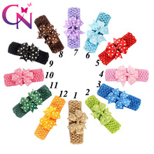 24 Pcs/lot Knitted Crochet Headband With Pinwheel Dots Ribbon Bow For Kids Girls Handmade Hair Accessories Headwear