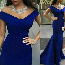 Arabic Chic Navy Blue Mermaid Long Evening Dresses Sexy V Neck Off the Shoulder Crisscross Formal Gowns Shopping Sales Online