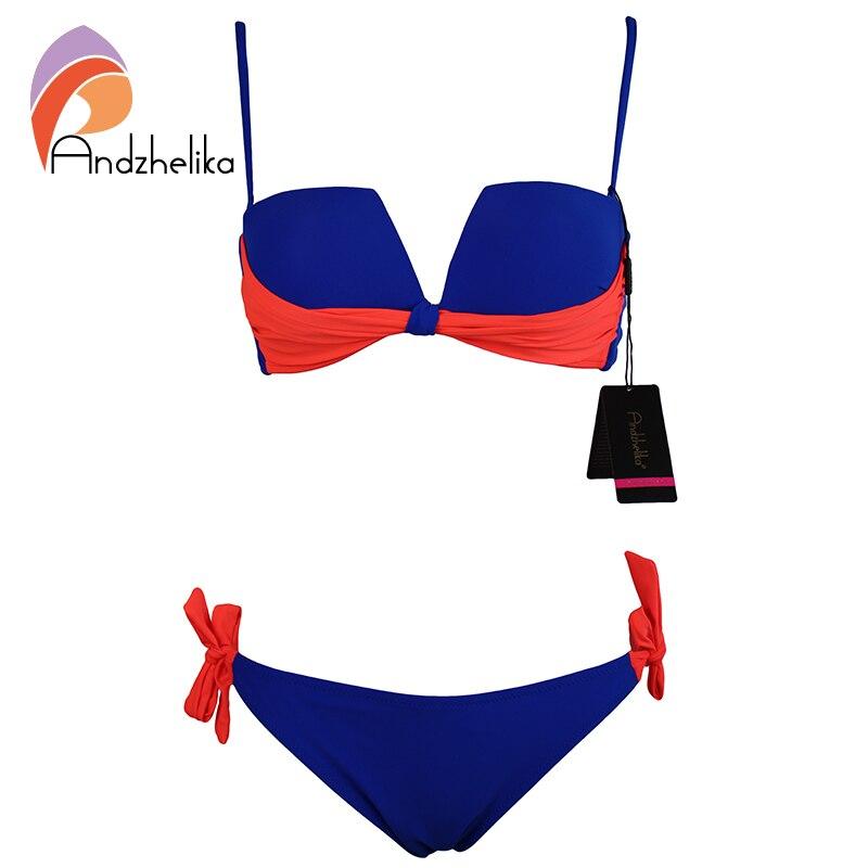 Andzhelika 2017 New Sexy Bikinis Set Swimsuit Patchwork Fold Push Up Bikini Low Waist Bikini Set Bathing Suit Monokini AK67811<br><br>Aliexpress
