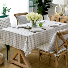 Kitchen Table Cloth Cotton Plaid Tablecloth Thick Rectangular Clothes Simple Chair Kit Table Cusion White Table Cover(China)