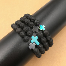 Buy Natural Lava Stone Strand Bracelet Cross Beads Rock Men Women Unisex bracelets&Bangles WomenEnergy volcanic Fashion Jewelry for $1.05 in AliExpress store