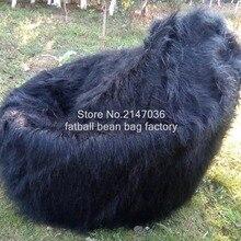 49c7dcb249 New Shaggy Lush black Soft Luxury Faux Fur Beanbag Bean Bag Lounge Chair  104cmD(China