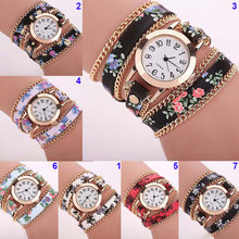 Fashion Women Bracelet Watches Leather Floral Quartz Watch Casual Dress Ladies Wristwatch Round Clock Jewelry Watch LL@17