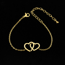 DIANSHANGKAITUOZHE Body Jewelry Stainless Steel Bracelet Femme Hand Accessories For Women Gold Colour Double Heart BFF Bracelet
