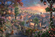Lady and the tramp European landscape cuadros decoracion wall picture for living room HD printed oil painting on canvas art work
