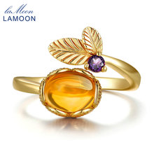 Lamoo Flower 7mm 2ct Natural Oval Citrine 925 Sterling Silver Jewelry Wedding Ring with  S925 For Women LMRI015