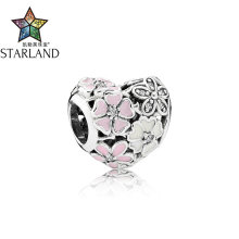 Buy Starland Fashion Authentic 925 Sterling Silver Poetry Flower Bloom Charm Pink Heart Beads Fit Original Bracelet Women Jewelry for $7.06 in AliExpress store