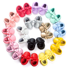 New Brand Name Bow Pu Leather Fringe Moccasins Solid Shoes For Kids Boys Girls Baby First Walkers Toddler Child Soft Moccs Shoe(China)