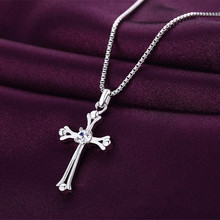 New Arrival Prayer Christian Jewelry Newest Silver Color Shiny Crystal Cross Pendant Necklaces For Women Easter Day's Gift