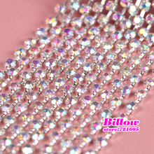 All size  10yards/roll Crystal  AB  Glass Sew On Rhinestone Cup Chain With Silver Base For Clothing wedding Decoration B3113