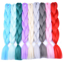 Full Star 1pcs Synthetic Black Grey Hair High Temperature Fiber Ombre Braiding Hair Bundles 24 inch Jumbo Braids Hair Extensions