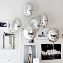 10pcs 18inch round pure Foil Balloon helium Balls Silver Wedding Happy Birthday Party Decoration Inflatable kids Toys Air globos
