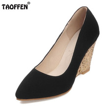 TAOFFEN Size 31-43 Sexy Women's Wedding Shoes Shine Pointed Toe Wedges Shoes Women Solid Color Party Club Dress Women Footwears(China)