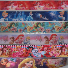 Pick Size 9 16 22 25 38 50 75 mm Width Princess Girls Printed Grosgrain Ribbon For Hair Bows Gift Accessory Custom Ribbon