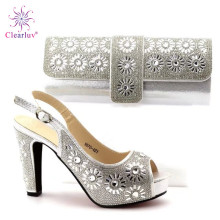 Clearluv 17110116 High Pumps Slipper Shoes and Bag set silver PU Leather Comfortable Wedding Matching Italian Shoes and Bag set(China)