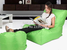 Cover only  No Filler -Green sofa chair, outdoor bean bag furniture set with foot stool - waterproof beanbag home folding chair
