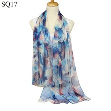 Fashion Women Leaf Painting Scarf 2017 New Design Floral Shawl Cape Silk Feeling Chiffon Tippet Muffler Hot Sale Scarves(China)