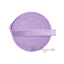 "BRISTLEGRASS 5 Yard 3/8"" 10mm Light Orchid Spandex Satin Band Shiny Non-foldover Elastic Headband Bra Strap Lace Trim DIY Sewing(China)"