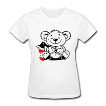 Bear Bloody Ax female hip hop cheap funny t-shirts short sleeve 100% cotton women o neck tops tees(China)