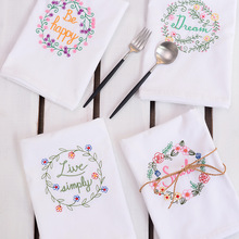 American country embroidered cloth napkins placemats cloth folded white cotton high-quality multi-purpose household fabric(China)