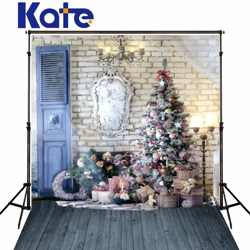 Kate Christmas Backdrop Photography White Brick Wall Wood Floor Background Christmas Tree For Children Photo Studio Backdrop<br>