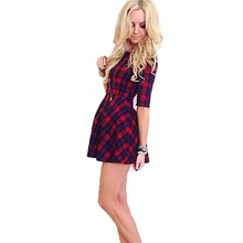 Sexy Women's Red Plaid Check Printed Mini Dress Cocktail Party Half Sleeve Dress