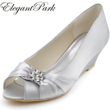 Woman wedges mid heel wedding bridal shoes silver peep toe rhinestone satin lady bride bridesmaid prom party dress pumps WP1403S(China)