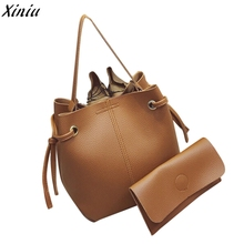 Vintage High Quality Women Big Bag Ladies Leather Handbag Tote Purse Cross Body Messenger Shoulder Bags+Clutch Hot Sale Casual(China)