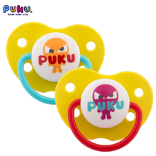 Brand Puku 2 Pieces Baby Pacifier Silicone Nibbler Teethers 0-6 Months Holder Nipple Infant Toddler Baby Feeding Soother(China)
