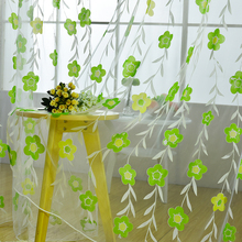 Window screening balcony finished product burnout design flower tulle curtain for living room kitchen curtains 100x200 cm