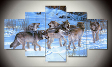5 Piece  Cheap abstract Modern Wall Painting Animal Wolf Home Decorative Art Picture Paint on Canvas Prints
