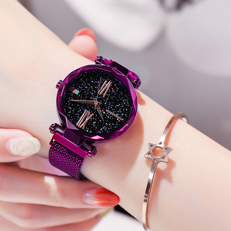 Luxury Purple Vibrato Ladies Watch Starry Sky Magnetic Watch Waterproof Female Wristwatch For Gift relogio feminino montre femme(China)