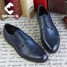 Sipriks Bespoke Goodyear Welted Shoes For Men Dark Brown Punched Shoes Genuine Leather Cap Toe Derby Shoes Male Wedding Shoes
